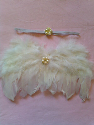 White Baby Newborn Angel Wings Pearl Jewel Photo Photography Prop USA SELLER