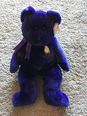 Ty Princess Beanie Buddy Toy Purple Bear Rare 1998