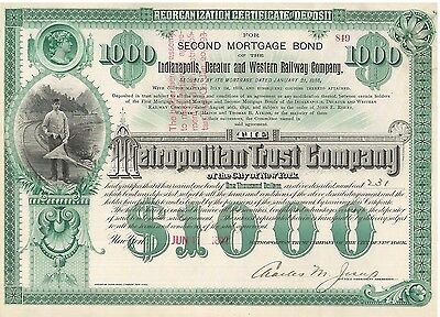 Indianapolis Decatur and Western Railway   1892 railroad bond certificate stock