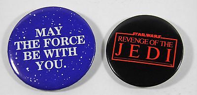 Vtg 1983 Star Wars Revenge Of The Jedi +May The Force Be With You Button Pin Lot