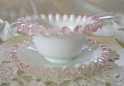 "FENTON""GLASS""MINT~VINTAGE~1940s""XRARE""ROSE CREST""MAYONNAISE""3pcSET W/PINK SPOON"