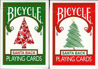 Santa Back 2 Deck Set Red & Green Bicycle Playing Cards Poker Size USPCC Limited