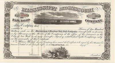 Mississippi and Missouri Rail Road Company > 1800s railroad stock certificate