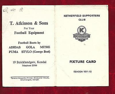 1971/2 Netherfield FC fixture card issued by the Supporters Club