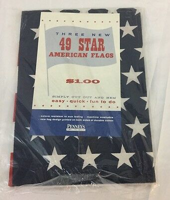 NOS Still Sealed Vintage 1959-1960 49 Star American Flags Uncut Unhemmed Cotton