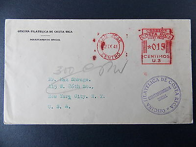1941 Offocial Philatelic Envelope from Costa Rica