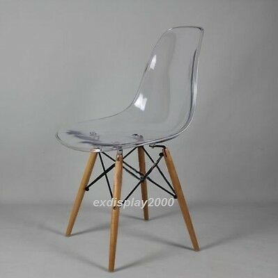 NEW DSW Wooden Legs Eames Panton Ghost Style Dining Chair Clear Transparent Seat