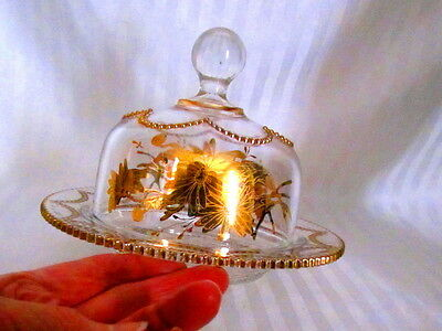Beautiful Early American Gold Beaded Drape Design Domed Glass Butter Dish