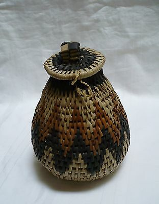 """native american handwoven grass basket with cover or lid  6 1/2"""" tall"""