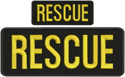 RESCUE embroidery Patches 4x10 and 2x5 hook ON BACK gold
