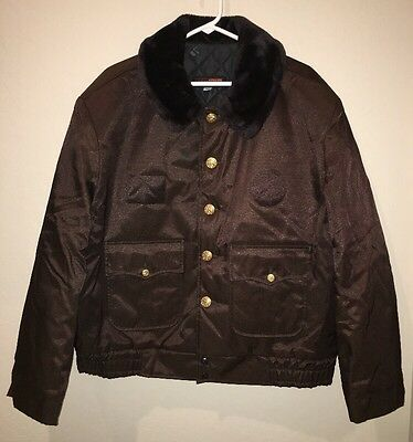 Vtg Mens Super Chief Quilted Shiny Bomber Jacket Coat 48R BROWN