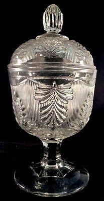 Inverted Fern Sugar Bowl Clear Flint Pattern Glass Unknown 1860s Candy Dish EAPG
