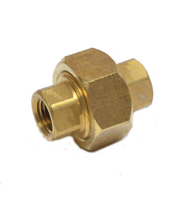 1/4 NPT Female Three Piece Union Pipe Coupling Joiner Adapter Brass Fitting