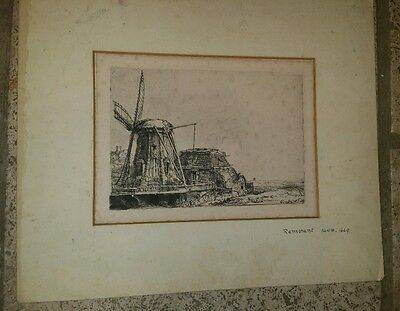 Rembrandt van Rijn Antique The Windmill Etching Signed Foxing & Wear Masterpiece