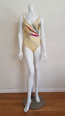 Vtg Cream COLLECTIBLES One Piece Boho Glam 70's Swimsuit Bathing Suit S/M