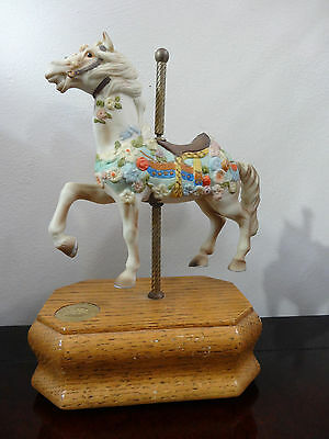 Willitts Carouse Horse On wooden Base Plays Let Me Call You Sweetheart Nice Gift