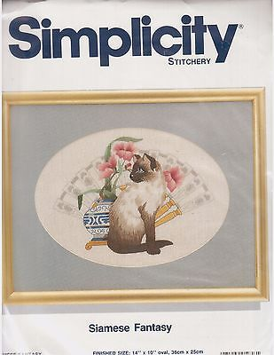 Siamese Fantasy Joan Marchie Asian Cat Crewel Embroidery Kit Simplicity Linen