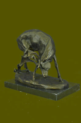 Handcrafted bronze sculpture SALE Art Wildlife Hunter Stag Deer Elk Marble Sale