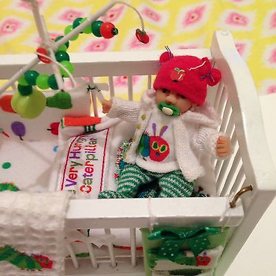 OOAK 12th Scale Baby Boy Toddler With Cot. The Very Hungry Caterpillar