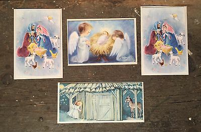 HALLMARK UNUSED NATIVITY VINTAGE CHRISTMAS CARD Lot Like Slim Jim 60s