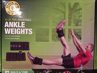 GOLD'S GYM 10 lb. Pair Adjustable Ankle Weights New In Box Opened