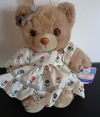 "APPLAUSE Vintage MOMMY TEDDY WINKS Plush Bear 1987 Opens Shurts Eyes 14"" New"