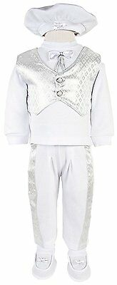 Leylek Baby Boys Christening Baptism Outfit with Vest 5 Piece Set 0-4 Months