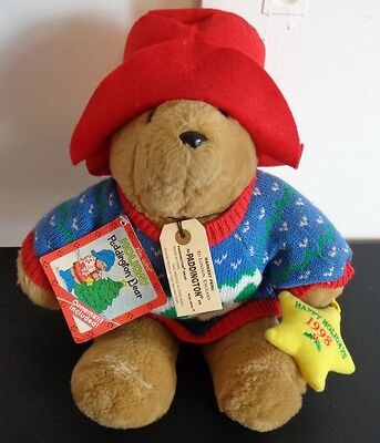 """PADDINGTON HOLIDAY BEAR Plush NEW With Tags 1998 With Ornament 15"""" Free Shipping"""