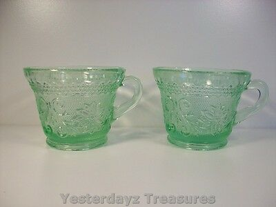 "Pair of 2 1/2"" Punch Bowl Cups, Indiana Glass Chantilly Green Tiara pattern"