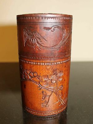 Fine Antique Wooden Japanese Tea Box with Carved Apple Blossom & Phoenix Birds