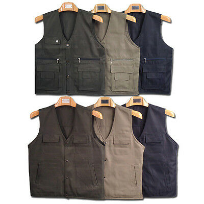 3 Colors Washable Bring Outdoor Camping Mens Multi Pockets Casual Vest C37LJ
