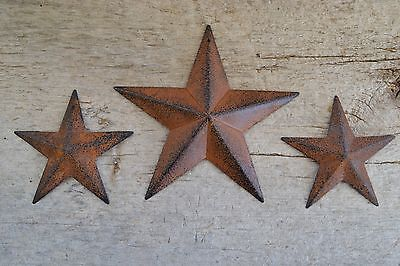 "Set of 3 ~ 5.5"" / 3.5"" RUSTY BLACK BARN STAR Metal Tin Primitive Country 5 1/2"""