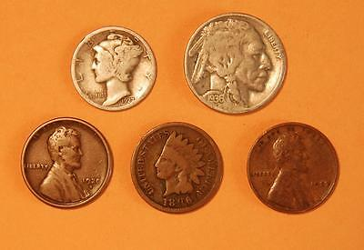 Five Old U.S. Coins Group 3.4 – Great Gift!