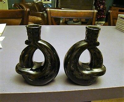 "~ Vintage Pair of Black Art Deco Candle Holders 5 1/2"" X 4 1/4"" ~"