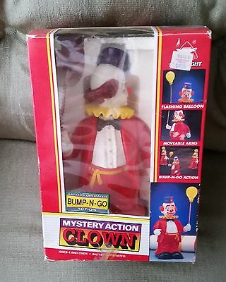 Vintage Battery Operated  Mystery Action Clown # 301  Bump N Go In Original Box