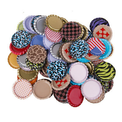 "100pcs Flat 1"" Bottle Caps Linerless Flattened No Liners Craft Mixed Color"
