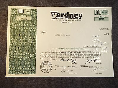 Yardney Electric Corporation 100 share stock from 1971