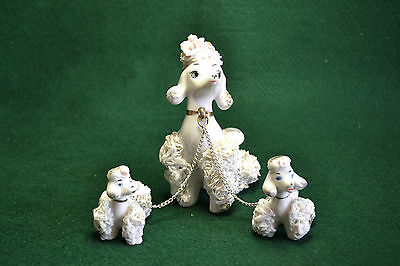 Vtg Spaghetti Porcelain Poodles/mom And Two Puppies/japan/otagiri