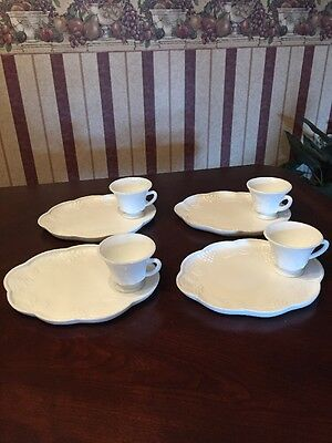 Service for 4 Milk Glass Tea And Crumpet Set 8 Piece Snack Set Grape And Vine