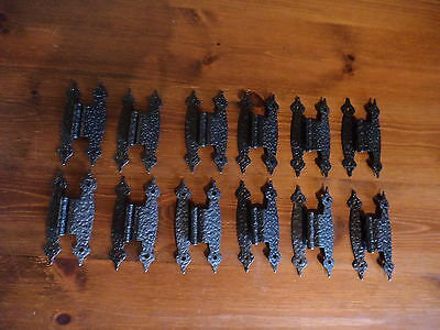 "6 PAIRS  RUSTIC HAMMERED BLACK FINISH 3 1/2 "" HINGES with screws"