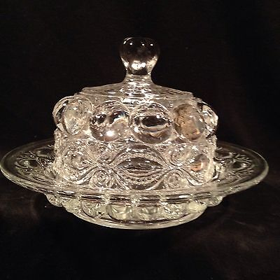 LG Wright Glass Clear Eye Winker Covered Butter Dish