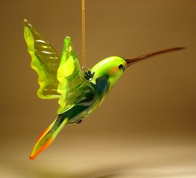 Blown Glass Figurine Bird Hanging Green, Yellow & Red HUMMINGBIRD Ornament