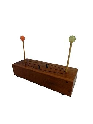 "4 Note Wooden Tongue Drum 12.8"" x 4.5"" x 2.5"" - with Bouncy Ball Mallets"