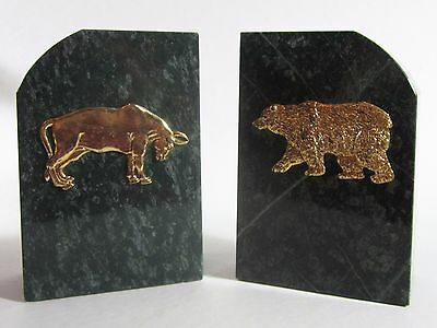 Green Marble Wall Street Bull Bear Stock Market Bookends Pair Very Heavy
