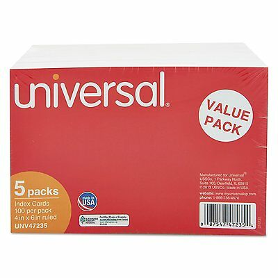 Universal 47235 Ruled Index Cards, 4 x 6, White, 500/Pack