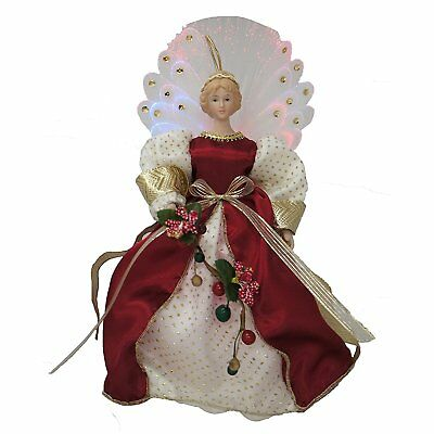 """Cosette Vintage Porcelain Angel Doll Red Christmas Decor Lighted 10"""" Collection"""