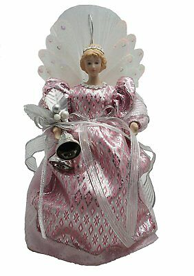 Cosette Vintage Porcelain Angel Doll Pink Christmas Decor Feather Lighted 10""