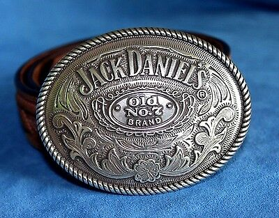 "Vintage JACK DANIEL'S Old No.7 Rodeo Trophy Buckle JUSTIN Leather 32"" Belt"