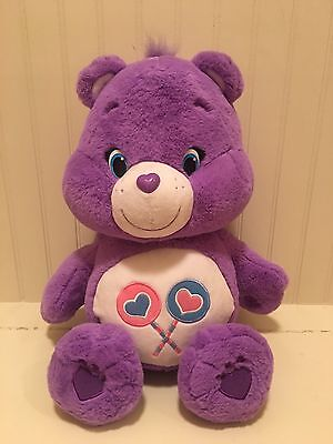 """LARGE Purple Care Bears Plush SHARE BEAR Lollipops 20"""" 2015 NEW STYLE Just Play"""