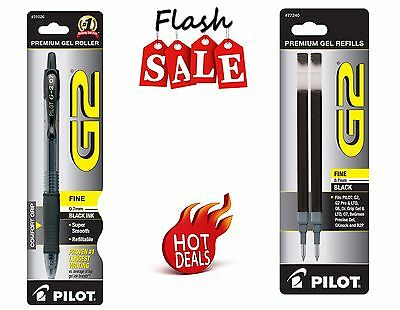 Pilot G2 Fine Point Black Retractable Pen Gel Ink Roller Ball 1 Pen + 2  Refills